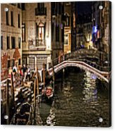 Venice Night By The Canal Acrylic Print