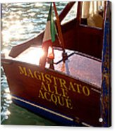 Venice Water Authority Boat Acrylic Print