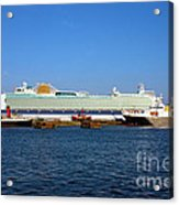 Ventura Sheildhall Calshot Spit And A Tug Acrylic Print by Terri Waters
