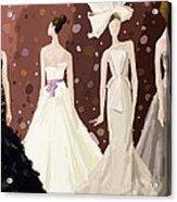 Vera Wang Bridal Dresses Fashion Illustration Art Print Acrylic Print by Beverly Brown