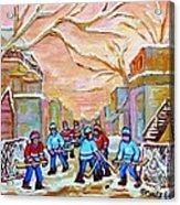 Verdun Back Lane Hockey Practice Montreal Winter City Scen Painting Carole Spandau Acrylic Print