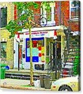 Verdun City Life Bike On Balcony Above Favorite Depanneur Montreal Stairs Summer Scenes Cspandau Acrylic Print