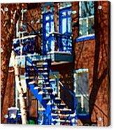 Verdun Duplex Stairs With Birch Tree Montreal Winding Staircases Winter City Scene Carole Spandau Acrylic Print