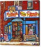 Verdun Famous Restaurant Pierrette Patates - Street Hockey Game At 3900 Rue Verdun - Carole Spandau Acrylic Print
