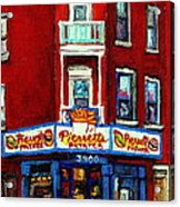 Verdun Landmarks Pierrette Patates Resto Cafe  Deli Hot Dog Joint- Historic Marquees -montreal Scene Acrylic Print