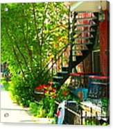 Verdun Stairs Red Flowers On Winding Staircase Tall Shade Tree Montreal Summer Scenes Carole Spandau Acrylic Print