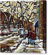 Verdun Winter Row Houses In January Montreal Paintings Time For A Walk Carole Spandau Acrylic Print