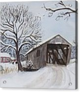 Vermont Covered Bridge In Winter Acrylic Print