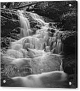 Vermont Forest Waterfall Black And White Acrylic Print