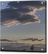 Vermont Grass Field Trees Clouds Adirondack Mountains New York Acrylic Print