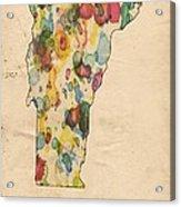 Vermont Map Vintage Watercolor Acrylic Print