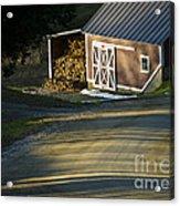 Vermont Maple Sugar Shack Sunset Acrylic Print by Edward Fielding