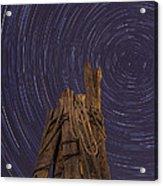 Vermont Night Star Trail Wood Pier Acrylic Print