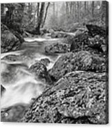 Vermont River Fog Mount Mansfield Black And White Acrylic Print