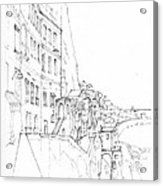 Vertical Amalfi Pencil And Ink Sketch Acrylic Print