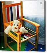 Vertical Of Dog In Kid Chair. Acrylic Print