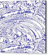Vertical Panoramic Grunge Etching Royal Blue Color Acrylic Print