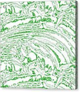 Vertical Panoramic Grunge Etching Sage Color Acrylic Print