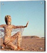 Veruschka Von Lehndorff Posing In A Desert Acrylic Print