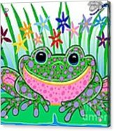 Very Happy Spotted Frog Acrylic Print by Nick Gustafson