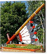 Very Large Pipestone Pipe Sculpture By Former Rock Island Line Railroad Depot In Pipestone-minnesota Acrylic Print