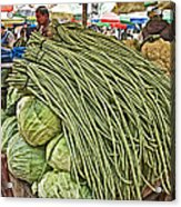 Very Long String Beans In Mangal Bazaar In Patan-nepal Acrylic Print