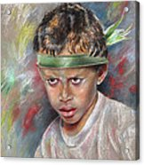 Very Young Maori Warrior From Tahiti Acrylic Print
