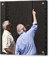 Veterans Look For A Fallen Soldier's Name On The Vietnam War Memorial Wall Acrylic Print