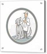 Veterinarian Vet With Pet Dog Cartoon Acrylic Print