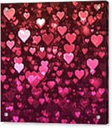 Vibrant Pink And Red Bokeh Hearts Acrylic Print