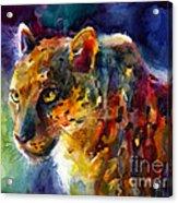Vibrant Watercolor Leopard Wildlife Painting Acrylic Print