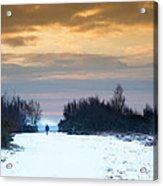 Vibrant Winter Sunrise Landscape Over Snow Covered Countryside Acrylic Print