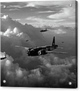 Vickers Wellingtons No 75 Squadron Black And White Version Acrylic Print