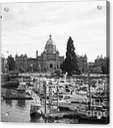 Victoria Harbour With Parliament Buildings - Black And White Acrylic Print by Carol Groenen