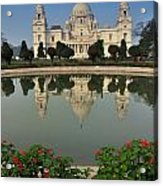 Victoria Memorial Kolkata India - Reflection On Water Acrylic Print