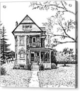 Victorian Farmhouse Pen And Ink Acrylic Print by Renee Forth-Fukumoto