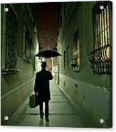 Victorian Man With Top Hat Carrying A Suitcase And Umbrella Walking In The Narrow Street At Night Acrylic Print