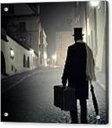 Victorian Man With Top Hat Carrying A Suitcase Walking In The Old Town At Night Acrylic Print