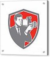 Video Cameraman Shooting Vintage Shield Retro Acrylic Print