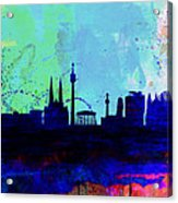 Vienna Watercolor Skyline Acrylic Print