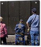 Vietnam Veterans Paying Respect To Fallen Soldiers At The Vietnam War Memorial Acrylic Print