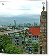 View From Temple Of The Dawn-wat Arun In Bangkok-thailand Acrylic Print