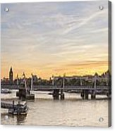 View From Waterloo Bridge Along The River Thames In London Acrylic Print