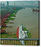 View Of A Ship On Its Side From A Bridge Near Bangkok-thailand Acrylic Print