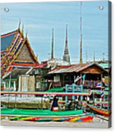View Of A Temple From Waterway Of Bangkok-thailand Acrylic Print