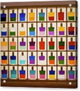View Of Bottles Used In Aura Soma Colour Therapy Acrylic Print