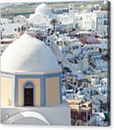 View Of Fira With Famous Church Santorini Greece Acrylic Print