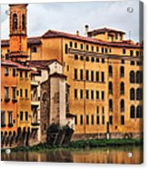 View Of Florence Along The Arno River Acrylic Print