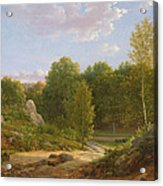 View Of Fontainebleau Forest, 1829 Oil On Canvas Acrylic Print