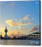 View Of Kaohsiung Harbor Entrance After Sunset Acrylic Print